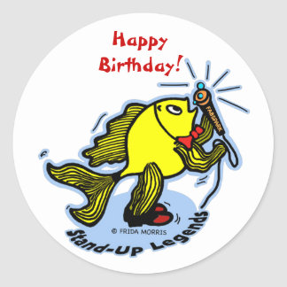 Stand-Up Fish funny comic cartoon Round Sticker
