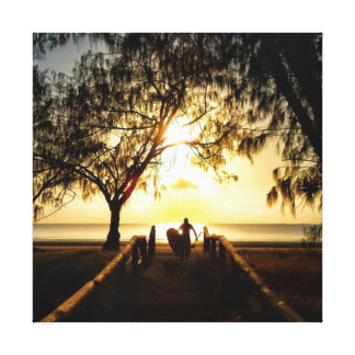 Stand Up Paddle Boarding Sunrise Stretched Canvas