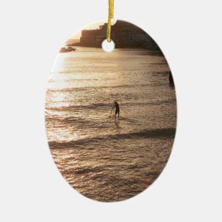 Stand up paddle boarding sunset San Sebastian Christmas Ornament