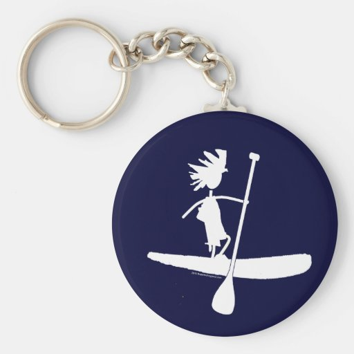 Stand Up Paddle Silhouette Design Key Chains