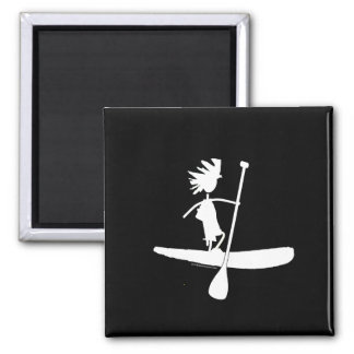 Stand Up Paddle Silhouette Design Square Magnet