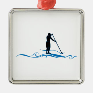 Stand Up Paddle - Waves Silver-Colored Square Decoration