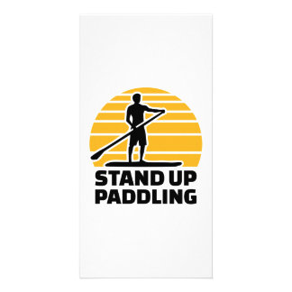 Stand up paddling personalised photo card