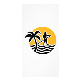 Stand up paddling photo card template