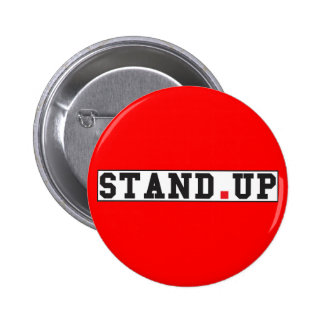 stand up text message emotion feel red dot square 6 cm round badge