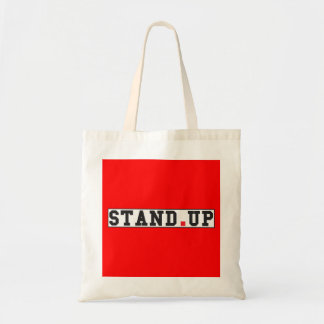 stand up text message emotion feel red dot square budget tote bag