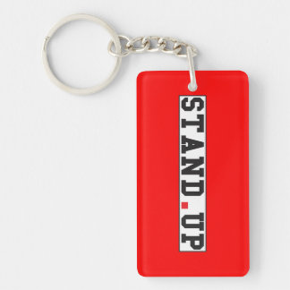 stand up text message emotion feel red dot square key ring