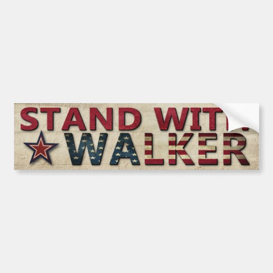 Stand With Walker Political Election Campaign Bumper Sticker