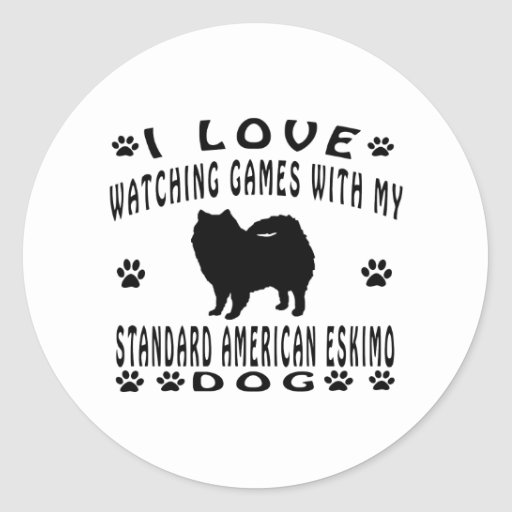 Standard American Eskimo Dog Design Round Sticker