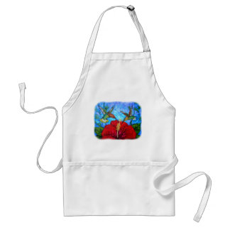 Standard Apron With Colorful Hummingbirds Painting