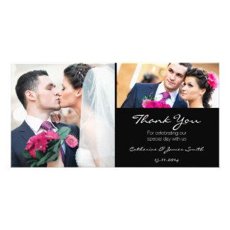 Standard Black Wedding Thank You Photo Card