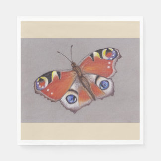 Standard Luncheon Napkins with Peacock Butterfly Disposable Napkins