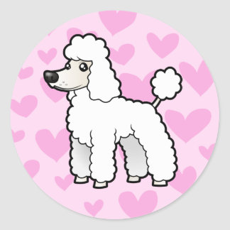 Standard/Miniature/Toy Poodle Love (puppy cut) Classic Round Sticker