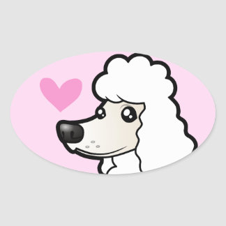 Standard/Miniature/Toy Poodle Love (puppy cut) Oval Sticker
