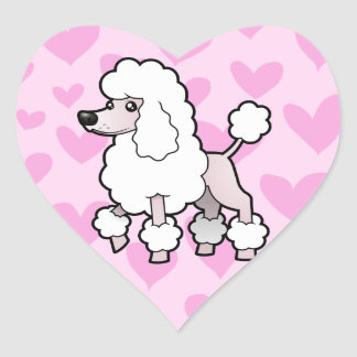 Standard/Miniature/Toy Poodle Love (show cut) Heart Sticker