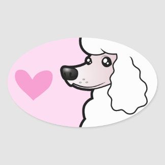 Standard/Miniature/Toy Poodle Love (show cut) Oval Sticker