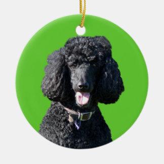 Standard Poodle dog black beautiful photo portrait Christmas Ornament