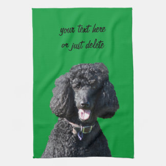 Standard Poodle dog black beautiful photo portrait Tea Towel