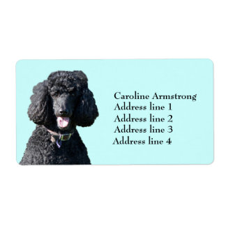 Standard Poodle dog black, custom address labels