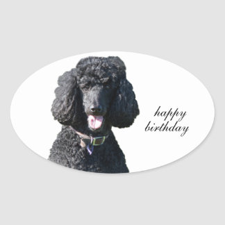 Standard Poodle dog black custom happy birthday Oval Sticker
