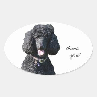 Standard Poodle dog black custom thank you Oval Stickers