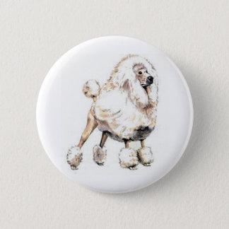Standard Poodle White 6 Cm Round Badge