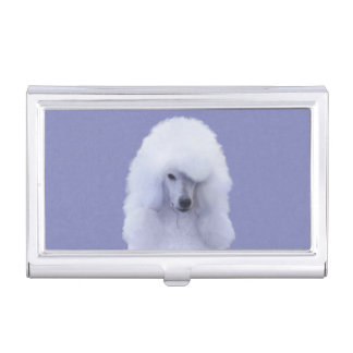 Standard Poodle (White) Business Card Holder