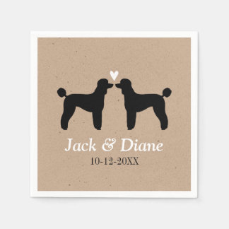 Standard Poodles Wedding Couple with Custom Text Disposable Napkins