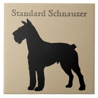 Standard Schnauzer Dog Silhouette Large Square Tile