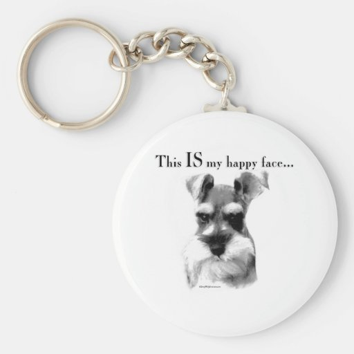 Standard Schnauzer Happy Face Basic Round Button Key Ring