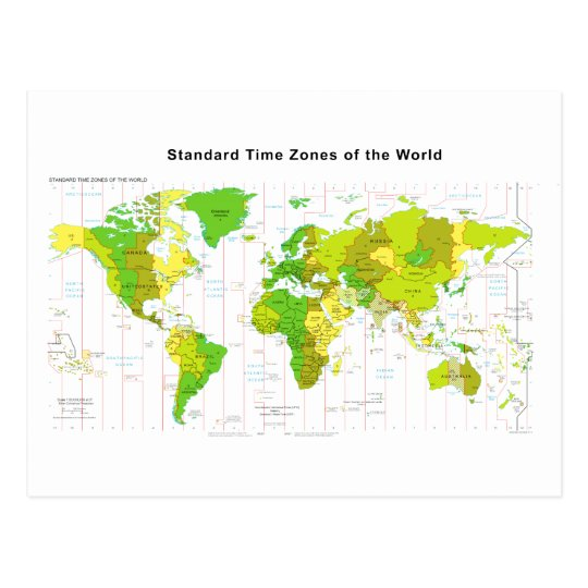 Standard Time Zones World Map 2013 Postcard