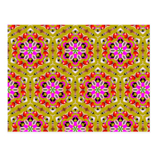 standard with flowers geometric forms postcard
