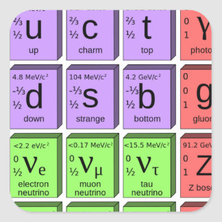 Standart model of elementary particles square sticker