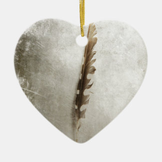 Standing Feather Ceramic Heart Decoration