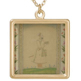 Standing figure of a nobleman, holding a book, fro gold plated necklace