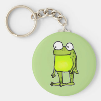 Standing Frog Basic Round Button Key Ring