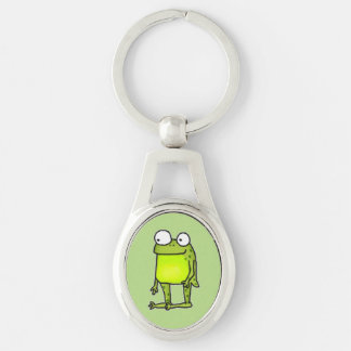 Standing Frog Silver-Colored Oval Key Ring