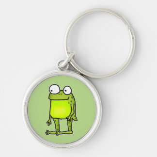Standing Frog Silver-Colored Round Key Ring