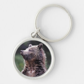 Standing Grizzly Bear Silver-Colored Round Key Ring