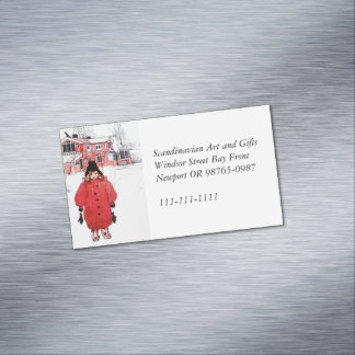 Standing in the Winter Snow Magnetic Business Card