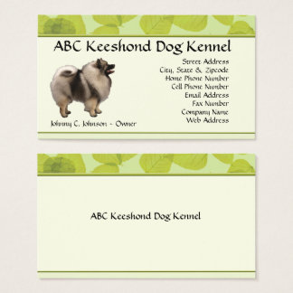 Standing Keeshond on Green Leaves Business Card