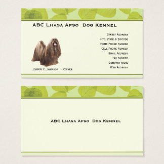 Standing Lhasa Apso on Green Leaves Business Card