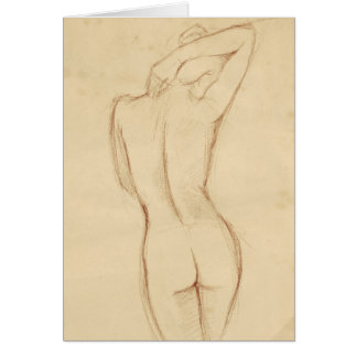 Standing Nude Female Drawing Greeting Card