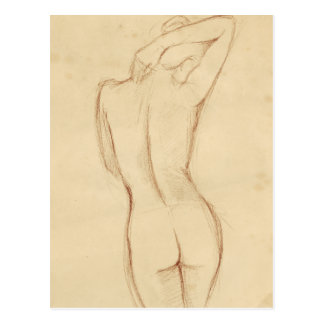 Standing Nude Female Drawing Postcard