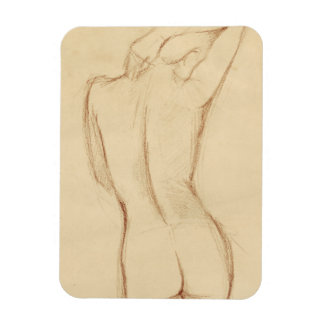 Standing Nude Female Drawing Rectangular Magnets