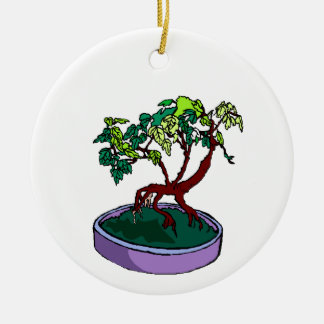 Standing On Root Elm Like Bonsai Tree Round Ceramic Decoration