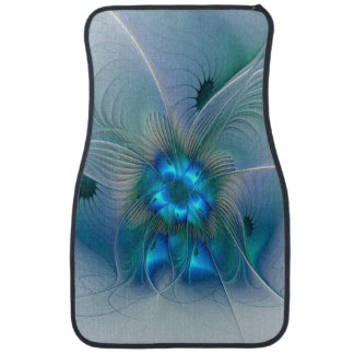 Standing Ovations, Abstract Blue Turquoise Fractal Car Mat