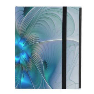 Standing Ovations, Abstract Blue Turquoise Fractal iPad Folio Case