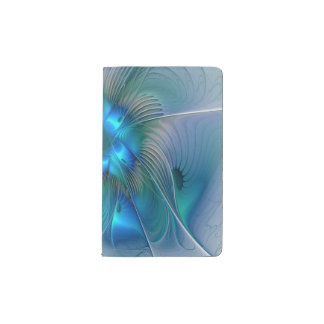 Standing Ovations, Abstract Blue Turquoise Fractal Pocket Moleskine Notebook