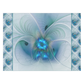 Standing Ovations, Abstract Blue Turquoise Fractal Tablecloth